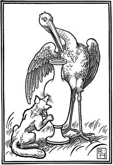 Pictorial representation of the Fable of the Fox and the Stork