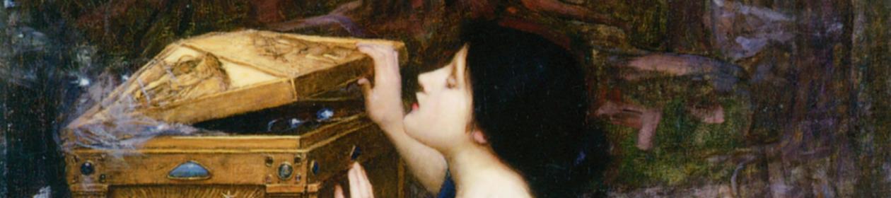 Painting of Pandora, kneeling, opening a golden box.