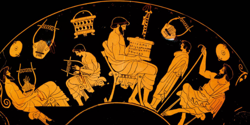 Detail from an Ancient Greek kylix or wine cup, depicting scenes of education: on the left, a bearded man teaches a boy how to play a 'barbition', an instrument like a lyre; in the centre, a man unrolls a scroll, while a boy and another man look on.