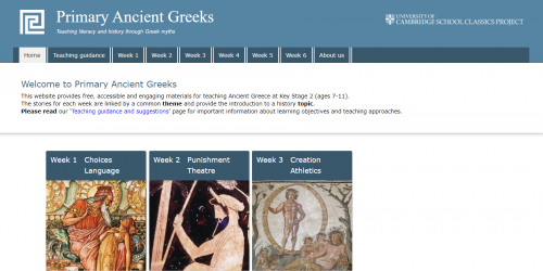 Screenshot of the Primary Ancient Greeks website home page.